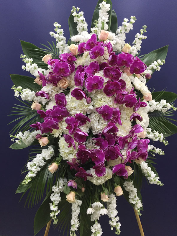 Pink Orchid And White Hydrangea Funeral Arrangement