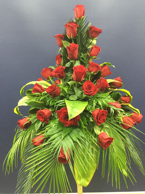 Red Rose And Fern Flower Arrangement