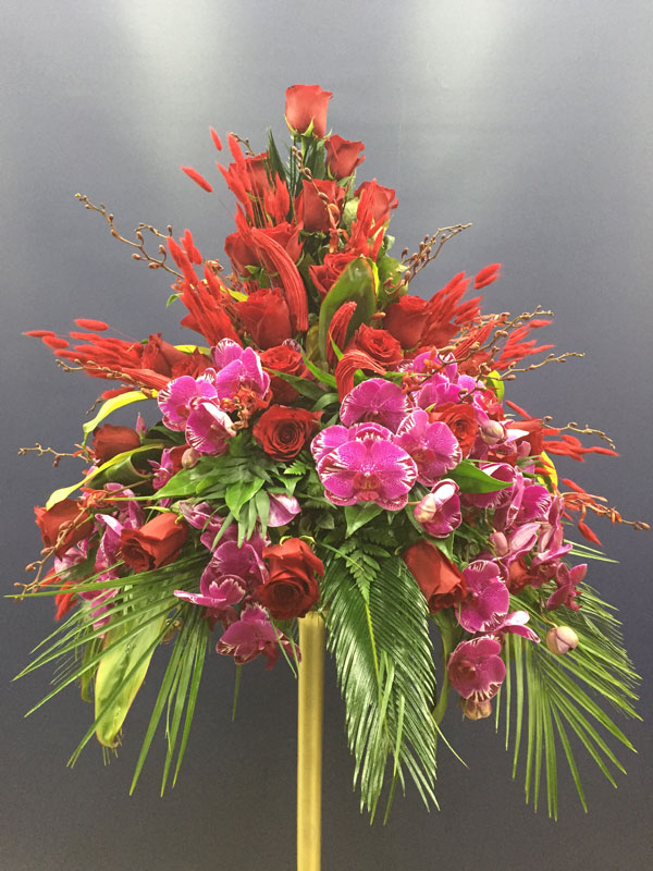 Red Rose And Pink Orchid Flower Arrangement