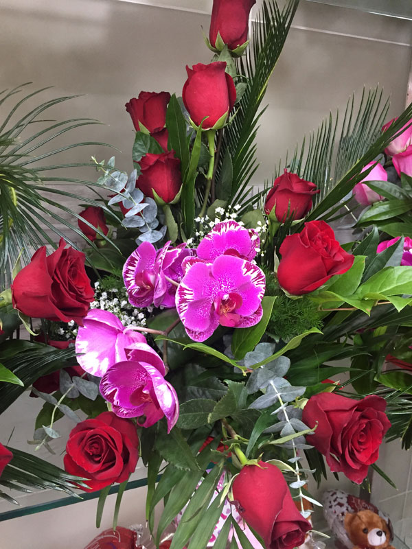 Red Rose And Pink Orchid With Eucalyptus Flower Arrangement