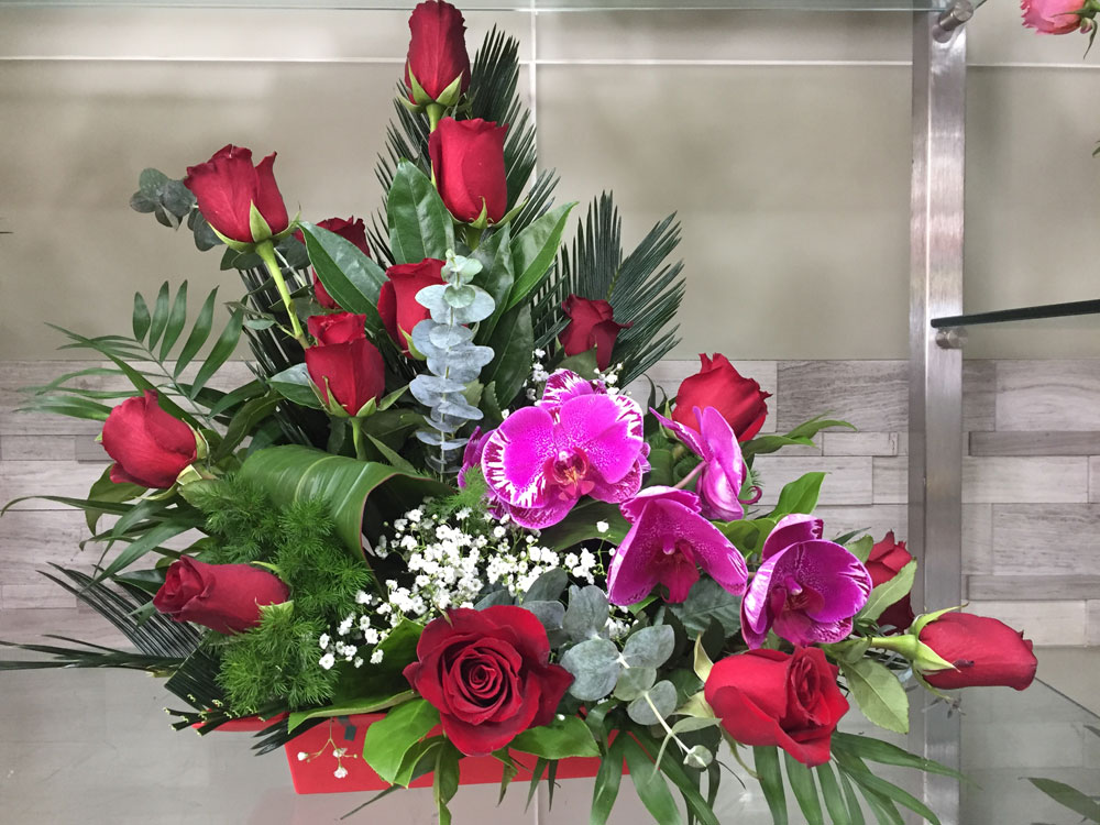 Red Rose And Pink Orchid With Fern And Eucalyptus