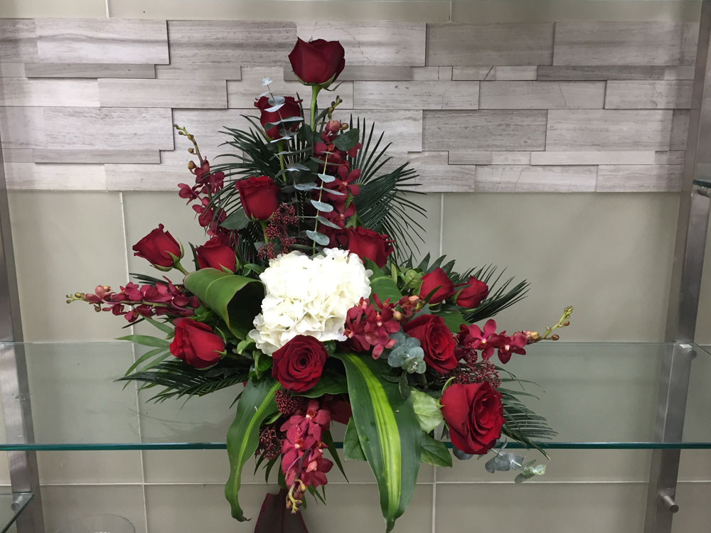 Red Rose White Hydrangea And Eucalyptus Flower Arrangement