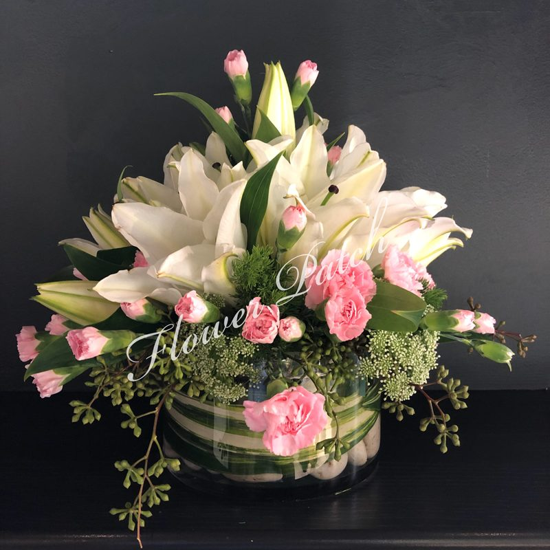 White And Pink Lily Arrangement