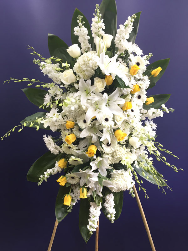 White Lily And Daisy Funeral Arrangement