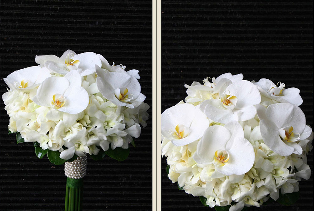 White Orchid Wedding Bouquet With Pearls