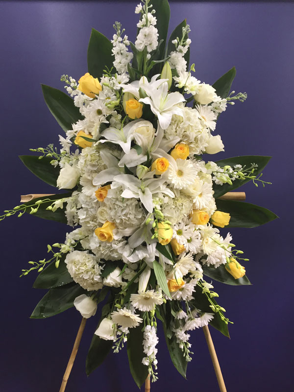 Yellow Rose And White Hydrangea Funeral Arrangement